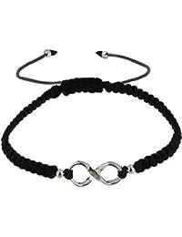 Les Poulettes Bijoux - Bracelet Infini et Perles Argent Lien Tréssé Noir