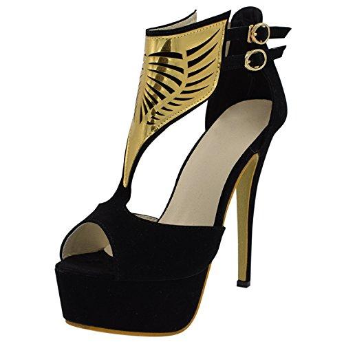 Oasap Trendy Black Woman Peep Toe Cutout Stiletto High Heels Black