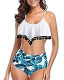Misolin Donne Bikini Costumi a Due Pezzi con Sovrapposizione a Balze Push up Costume da Bagno a Vita Alta Tummy Control