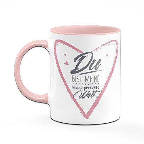 Tasse Du bist meine kleine perfekte Welt - Tasse in rosa - Kaffetasse - Liebesgeschenk - Sprüchetasse - 2