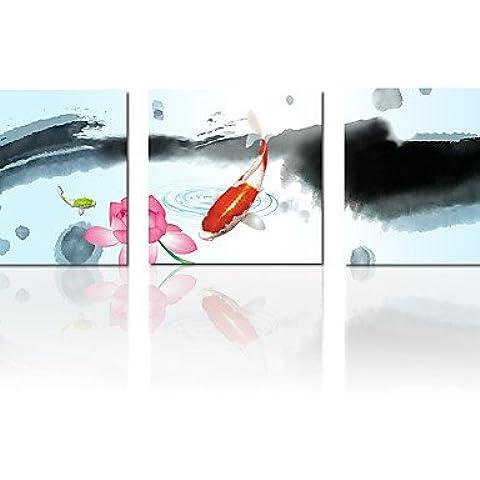 ZSQ Tela stampa Cinese Pittura di pesce 3 pannelli di parete cucina art decor moderno con cornice immagine illustrazione #1975