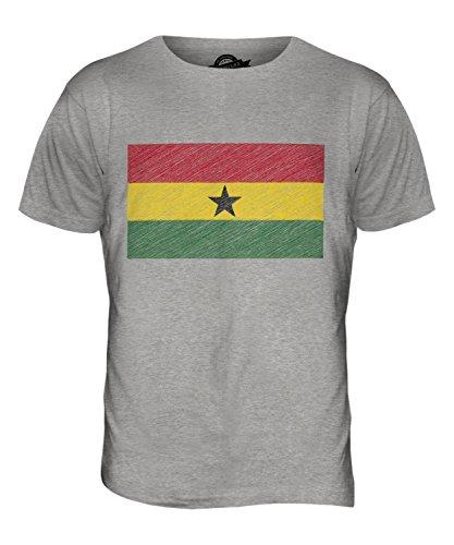 CandyMix Ghana Bandiera Scarabocchio T-Shirt da Uomo Maglietta Marne Grigio