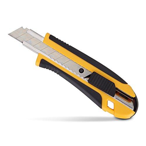 PRETEX Cuttermesser mit gummiertem Griff und 2 Ersatzklingen | 2 Jahren Zufriedenheitsgarantie | Teppichmesser, Universalmesser