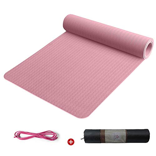 BMY Yogamatten 8mm Umweltschutz rutschfeste Pilates und Fußmatten mit Riemen 6 Farben (Farbe: Pink 1)