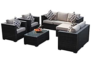 Yakoe 51015 New Rattan Garden Furniture Table Chairs Sofa Set - Brown
