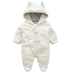 f9c3affccfcc1 Vine Baby Snowsuits Winter Fleece Jumpsuit Hooded Girls Boys Romper Footed  Jumpsuit