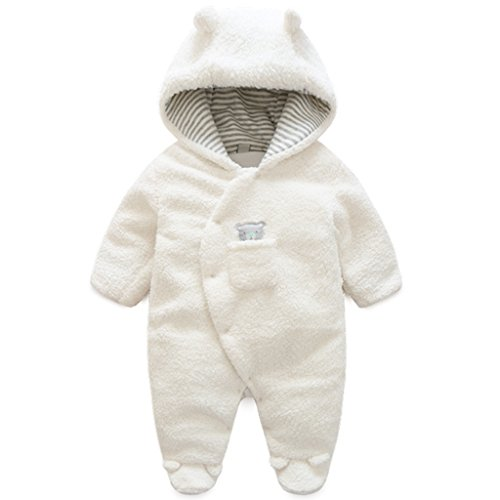 Newborn Baby Hooded Fleece FOOTED Romper Snowsuit Infant Jumpsuit Outfits, White 0-3 Months