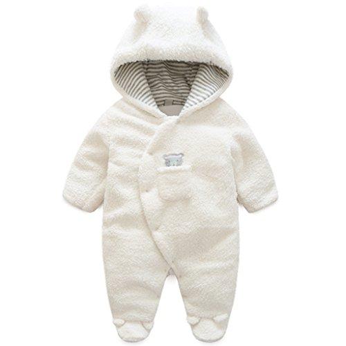 Vine Traje de Nieve Bebé Ropa de Invierno Peleles Fleece Mameluco con Capucha Cálido Monos para Niños Niñas, Blanco 12-18 Meses