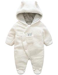 Vine Traje de Nieve Bebé Ropa de Invierno Peleles Cálido Fleece Mameluco con Capucha Monos Manga Larga para Niños Niñas