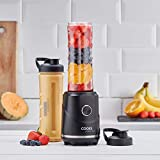 Cooks Professional Juicer Blender & Smoothie Maker with Two Bottles 250W Black Shakes On-The-Go - Great Gift for Men and Women