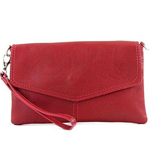 ital. Ledertasche Damentasche Clutch Umhängetasche Handgelenktasche Klein Nappaleder T47 Dunkelrot