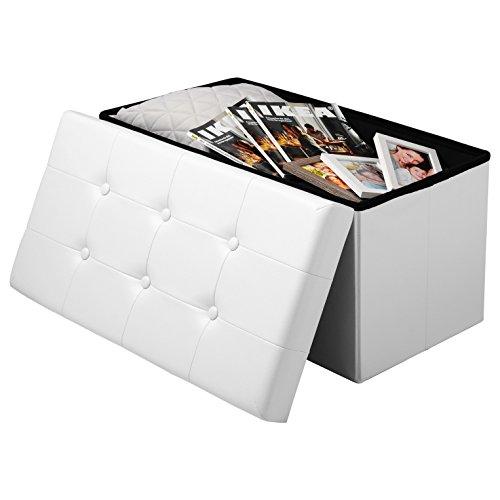 Esituro pouf contenitore sgabello pieghevole con coperchio rimovibile cassapanca portaoggetti poggiapiedi in ecopelle bianco om011-a