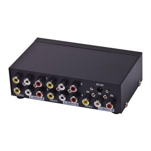 E-SDS 1 In 4 Out 3 RCA AV Audio Video Splitter für Kabel Box DVD DVR Analog TV - Video Splitter Box