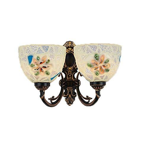 LLCX Tiffany-Stil Wandleuchte Vintage Messing Glasmalerei Wandleuchte Interior Schlafzimmer Nacht dekorative Beleuchtung E27 Sockel - für Restaurants, Flure, Häuser, Bars, Cafés - Messing-tiffany-wandleuchte
