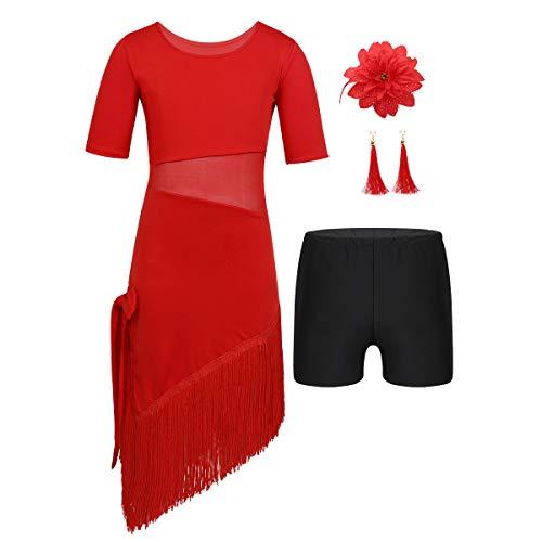Agoky Mädchen Tanzkleid Lateinamerikanische Tänze Flamingo Kostüm mit Ohrringe und Blumen Haarschmuck Sport Shorts Kleidung Set Rot ()