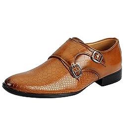 Fausto KF-68-43 Tan Mens Formal Strap Monk Shoes
