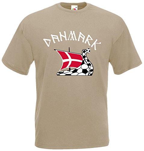 Dänemark Danmark T-Shirt Fanshirt Khaki