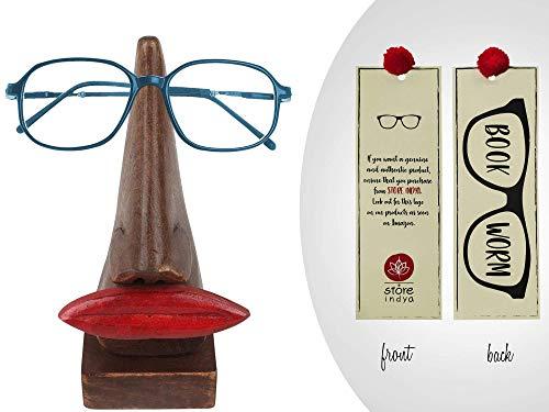 Von Hand Bemalt, Sind Mit Schreibtischen (storeindya Holz Brillenständer Nase Brillenhalter, Wooden Spectacle Holder Schreibtisch Lippe und Nasenförmige Handgefertigtes Brillen ständer optisches Zubehör für Wohnkultur und Schenken)