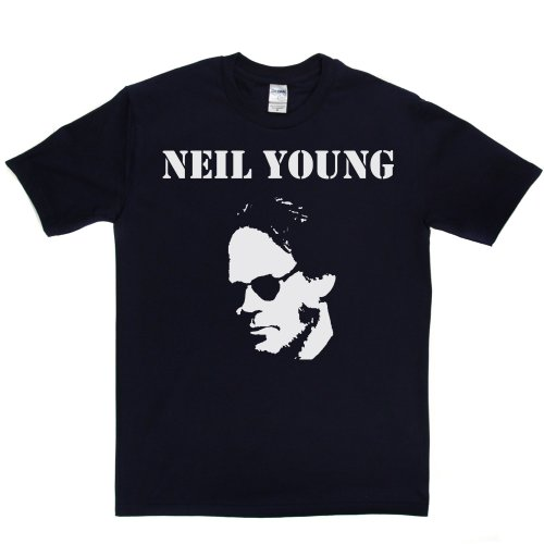 Neil Young 1 Canadian Singer 1960s 60s Rock T-shirt Marineblau