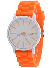 Womens GENEVA Watches,Ulanda-EU Unique Quartz Candy Colors Analog Clearance Lady Wrist Watch Female watches on Sale Watches for Women,Round Dial Case Silicone Rubber Jelly Gel Wristwatch m31 (Orange)