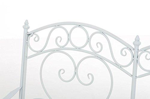 CLP Gartenbank SALIM im Landhausstil, aus lackiertem Eisen, 107 x 50 cm – aus bis zu 6 Farben wählen Weiß - 4