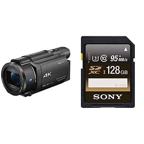 Sony fdrax53b videocamera 4k, nero + sony sfg1uz scheda sd xc, uhs-i, classe 10, u3, 128 gb, nero