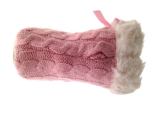 Chaussons montants style tricot - fausse fourrure/polaire - fille Cousu avec Fourrure Rose