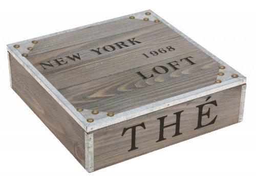 Vintage Teebox aus Holz - Holzdeckel geschlossen