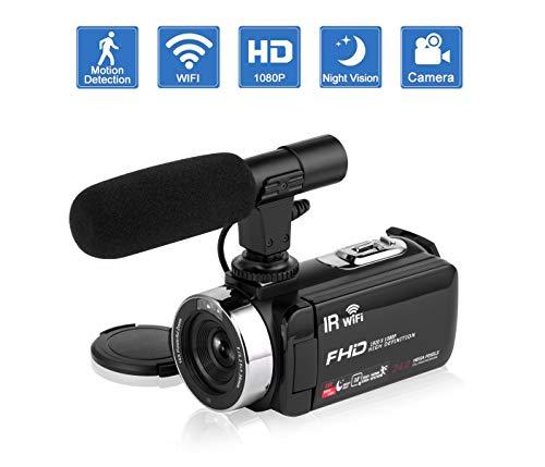 """Camcorder Videokamera IR Nachtsicht WiFi Vlogging Kamera für YouTube Full HD 1080P 3,0""""HD Touchscreen Digitalkamera Camcorder mit Mikrofon"""