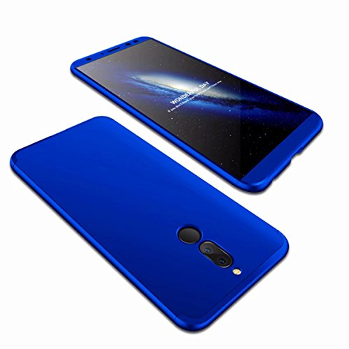 AILZH Huawei Mate 10 Lite Hülle 360°Schutzhülle PC Shell Anti-Schock Shockproof Ganzkörper Schützend Anti-Kratz Stoßfänger 360 Grad Full-Cover Case Matte Schutzkasten(Blau)