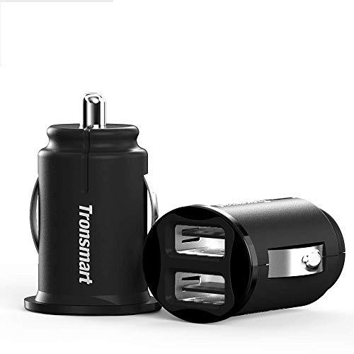 Caricabatteria da Auto, 2 Pack Tronsmart C24 Car Charger Dual Porta USB 4.8A/24W Extra-Mini,Ultra Compatto,con Tecnologia VoltiQ per iPhone, iPad, Tablet, Smartphone e gli Altri Dispositivi USB