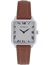 Reloj hombre JEAN Bellecour y pulsera de cuarzo esfera color blanco 28 * 28 mm marrón piel JB1101