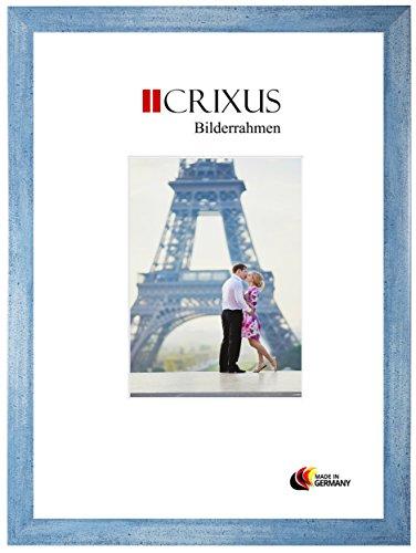 CRIXUS Crixus35 Bilderrahmen für 30 cm x 21 cm Bilder, Farbe: Hellblau Blau, Holzrahmen MDF mit entspiegeltem Acrylglas, Rahmen Breite: 35mm, Aussenmaß: 35,8 x 26,8 cm