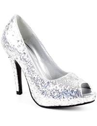 Zapatos de tacón estilo peep toe AM239, de Andrés Machado. De punta abierta. De ante sintético. Color: borgoña de la 32 a la 46, color Plateado, talla 36