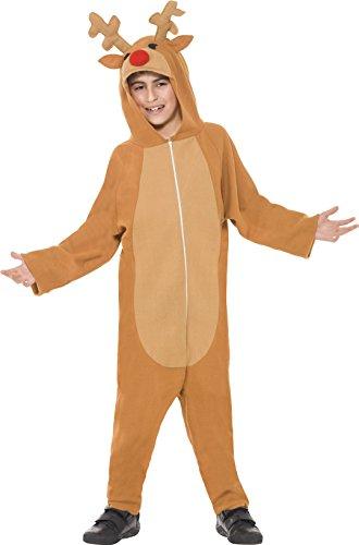 Smiffys, Kinder Jungen Rentier Kostüm, All-in-One mit Kapuze, Größe: M, 39801
