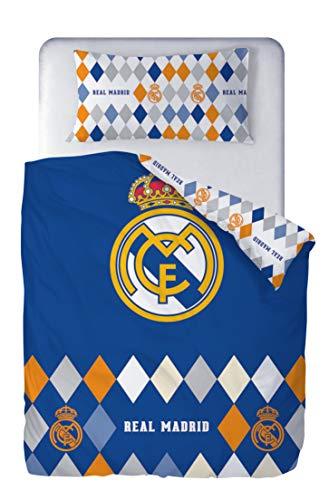 Real Madrid Juego de Cama 2 Piezas. Funda Nórdica 150x220 cm + Funda de Almohada 45x110 cm