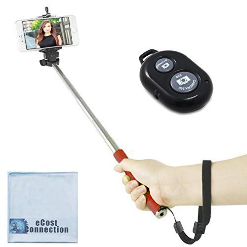 eCostConnection 43 inches / 3.6' feet Selfie Extension Pole Monopod + Bluetooth Shutter Remote for Apple iPhone 6s 6s Plus iPhone 6 iPhone 6 Plus iPhone 5c iPhone 5s iPhone 5 iPhone 4s iPhone 4 Samsung Galaxy Note 4 Galaxy Alpha Galaxy Mega 2 Galaxy Note Edge Galaxy S5 Galaxy S4 mini Galaxy S4 & Other Smartphones + eCost Microfiber Cloth | Red