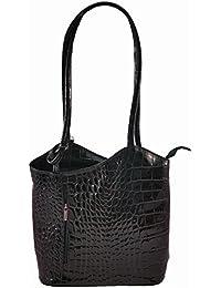 Freyday 2 in 1 Handtasche Rucksack Designer Luxus Henkeltasche aus Echtleder in versch. Designs