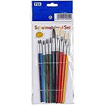 TSI - Juego de pinceles (10 piezas, pinceles de pelo: 1, 2, 3, 4, 6 y 10, pinceles de cerdas: 6, 8, 10 y 12)