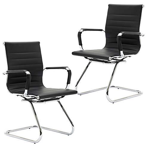 Wahson Konferenzstuhl/Schreibtischstuhl aus PU-Leder mit Chrom-Armlehnen mit Schutzhüllen, 2 Stück Schwarz