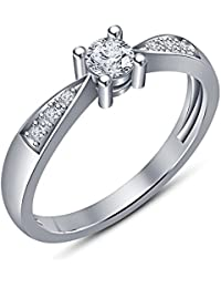 Vorra Fashion Very Beautiful Platinum Plated 925 Sterling Silver Round Cut Solitaire With Accents Ring For Women's