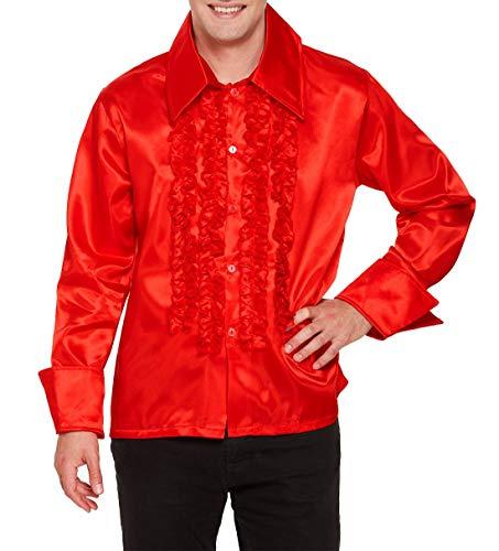 Islander Fashions Adult Disco Red Ruffle Shirt Uomo Manica Lunga Dance Party Wear Fancy Dress Top One Size