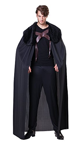 1 Herren Schwarz Umhang mit Pelzkragen (One Size) (Night's Watch Halloween Kostüm)