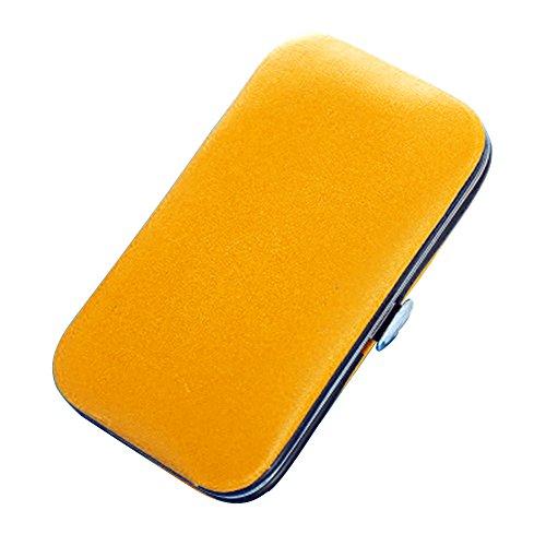 Monbedos Nagelknipser-Set, 6-teilig, für Reisen, Maniküre, Fellpflege-Set für Augenbrauen, Zupfen und Nageltrimmen, gelb, 10 * 5.5cm