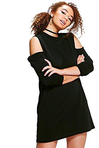 Schwarz Damen Plus Amelia Sweatshirt-kleid Mit Ausgeschnittenen Schultern Schwarz