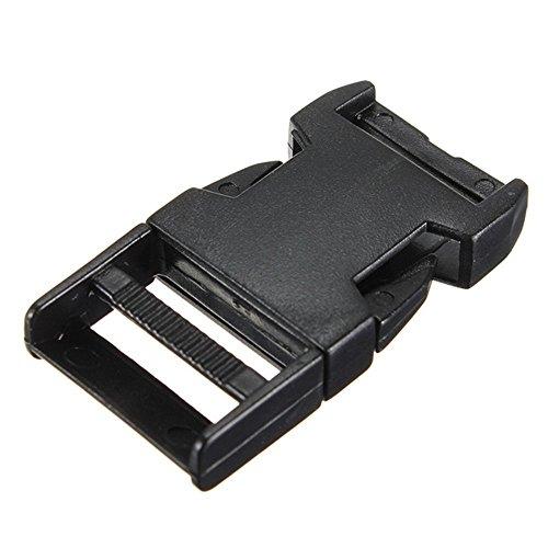 Gleader 10pcs boucles plastiques clips paracord pour sangle fermoir bracelet paracorde noir 20mm