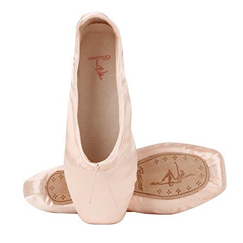 Ballet Spitzenschuhe Mädchen Satin Ballettschuhe Damen Tanzschuhe mit spitzenschoner und spitzenschuh,Bitte wählen Sie eine Größe mehr als üblich Rosa EU 36