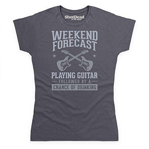 Weekend Forecast Playing Guitar T-Shirt Funny Novelty Gift, Damen Anthrazit