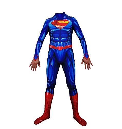 t Superman Allianz Cosplay Kostüm Superheld Muskel Siamesische Strumpfhosen Halloween Maskerade Party Movie Props Kostüm,Blue-M ()