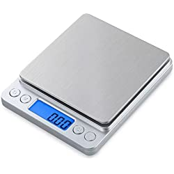 Bilancia da Cucina Elettronica Bilancia Digitale da Cucina Precisione 3Kg/0.1g Acciaio Inossidabile Display LCD Batteria inclusa